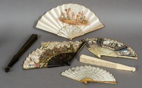 A 19th century Chinese fan With chinoiserie lacquered guards and sticks,