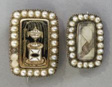 Two 19th century unmarked gold, seed pearl mounted mourning brooches The largest 2 cm long.