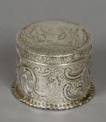 A Victorian silver trinket box and cover, hallmarked London 1881,