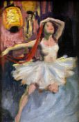 J.V.C. (20th century) Ballet Dancer with Chinese Lantern Oil on board Signed with initials 11 x 17.