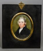ENGLISH SCHOOL (19th century) Portrait of a Gentleman in a Black Coat Watercolour on ivory 5.