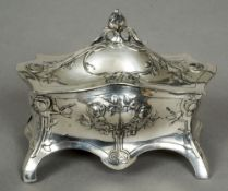 A late 19th/early 20th century WMF silver plated Britannia metal Jugendstil trinket box Bombe