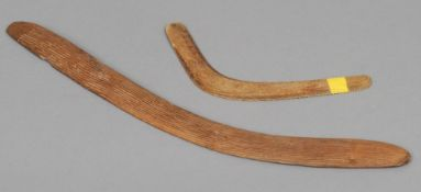 A 19th century Aboriginal carved boomerang  One side with channelled decoration;