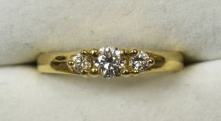 A fine quality 18 ct gold three stone diamond ring CONDITION REPORTS: Overall good,