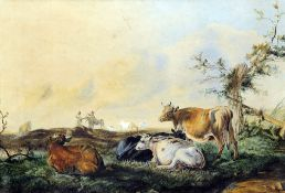 Manner of THOMAS SYDNEY COOPER (1803-1902) British Cattle at Rest Watercolour Old label to verso