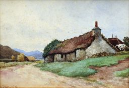 JAMES ALFRED AITKEN (1846-1897) Scottish Croft Cottage Watercolour Signed 32 x 22.