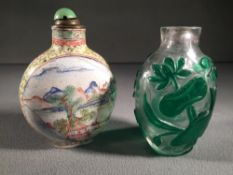 Two Chinese snuff bottles One enamelled with red painted Qianlong six character mark to base,