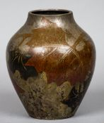 A 20th century WMF patinated copper vase Decorated with stylised leaves,