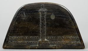 A 19th century French horn snuff box Formed as Napoleons hat,