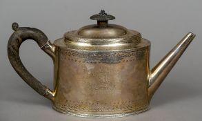 A George III silver teapot, hallmarked London 1788,