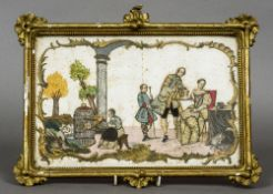 A late 18th/early 19th century decoupage and needlework picture Worked with figures in traditional