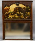 A 19th century oak framed Flemish overmantle mirror With bevelled mirror plate beneath a boar hunt