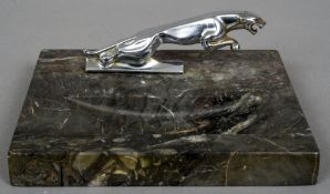 After FREDERICK GORDON CROSBY (1885-1943) British Chromed jaguar car leaping cat mascot Mounted on