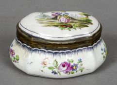 A 19th century French Sceaux pottery faience trinket box The hinged cover decorated with an amorous