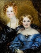 ENGLISH SCHOOL (19th century) Aunt Clara Carew and Aunt Eliza Carew Watercolour on ivory Inscribed