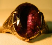 A Georgian unmarked amethyst set ring
