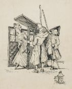 HE(LENA) AULT (died 1904) British Alighting the Sedan Chair Pen and ink Signed and dated 02,