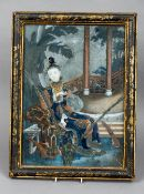 An 18th century Chinese reverse painted mirror Depicting a wealthy lady holding a fan seated on a