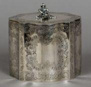 A 19th century American coin silver tea caddy, maker's mark of Eoff & Phyfe, New York,