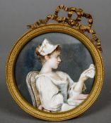 FRENCH SCHOOL (19th/20th century) Young Lady Seated Reading a Note Watercolour probably on ivory 8