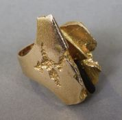 A 15 ct gold contemporary naturalistic ring by Bent Wegstrom CONDITION REPORTS: