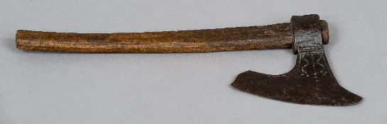 An antique axe, possibly 17th century  With goose wing blade.  55 cm long overall.