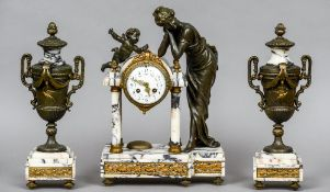 A figural mounted variegated white marble clock garniture The clock surmounted with a lady and a