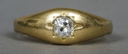 An 18 ct gold gypsy set diamond solitaire ring CONDITION REPORTS: Some general wear,