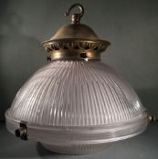 A 20th century Holophane brass mounted glass ceiling light Stamped to mount and moulded mark to
