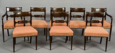 A set of ten Regency style dining chairs Comprising: six single chairs and four carvers,