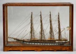 """A late 19th century model of a four masted clipper """"The Uncle Sam"""" Fully rigged flying the Stars"""