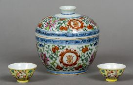 A 19th century Chinese porcelain underglaze blue and polychrome decorated bowl and cover Together