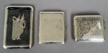 A Russian silver cigarette case, stamped for 84 Zolotniks,