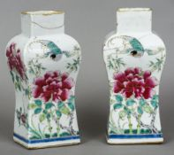 A pair of 18th/19th century Chinese porcelain vases Each of waisted rectangular form and decorated