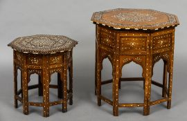 A North African ebony, ivory and bone inlaid octagonal folding table Of typical form,