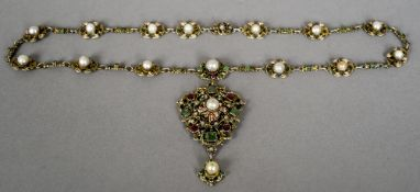 An 18th/19th century Continental silver and enamel pendant and chain Set throughout with emeralds,
