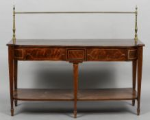 A 19th century line inlaid mahogany sideboard The shaped rectangular top surmounted with brass