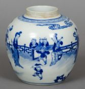 A 19th century Chinese blue and white ginger jar Decorated in the round with children playing in a