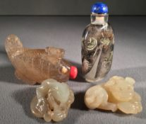 A Chinese inside painted snuff bottle and stopper Decorated with a dragon;