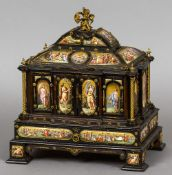 A 19th century ormolu and enamel decorated ebony table cabinet The domed top surmounted with a
