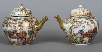 Two 18th century Chinese Export famille rose teapots Each of typical lobed bullet form decorated