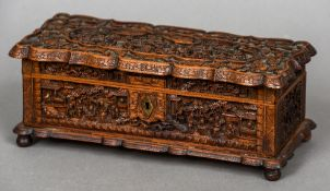 A late 19th/early 20th century Cantonese carved wooden box With hinged lid,