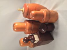 A collection of treen Including: bottles cases and a Go To Bed vesta.  The largest 14 cm high.