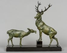 LOUIS-ALBERT CARVIN (1875-1951) French Stag and Doe Bronzed Art metal,