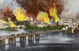 After AMERICAN SCHOOL (19th century) The Fall of Richmond Virginia on the Night of April 2nd