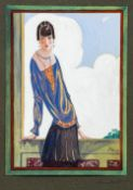 An Art Deco watercolour Depicting an elegant lady before a window, a bi-plane in the background,