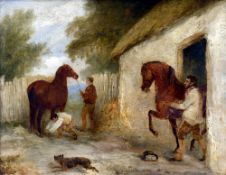 Attributed to RICHARD BARRETT DAVIS RBA (1782-1854) British Horses and Grooms Oil on board Signed