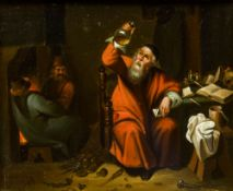 After DAVID TENNIER The Younger (1610-1690) Flemish Figures Smoking and Drinking in an Interior;