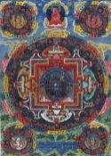 A 19th century Tibetan thanka Bodycolour on canvas, typically painted, framed and glazed.  33.