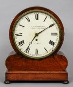 A Victorian mahogany mantel clock With fusee movement, the dial with Roman numerals inscribed Thos.